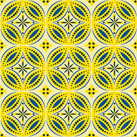 Moroccan Tiles (Blue/Yellow) fabric by shannonmac on Spoonflower - custom fabric