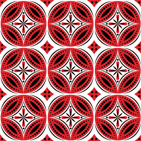 moroccan tiles red black white fabric shannonmac spoonflower