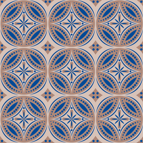 Moroccan Tiles (Blue/beige) fabric by shannonmac on Spoonflower - custom fabric
