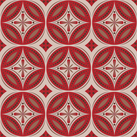 Moroccan Tiles (Red/Beige) fabric by shannonmac on Spoonflower - custom fabric