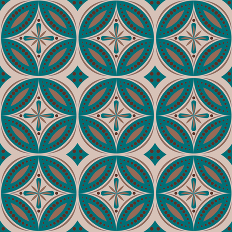 Moroccan Tiles (Blue-Green/Beige) fabric by shannonmac on Spoonflower - custom fabric