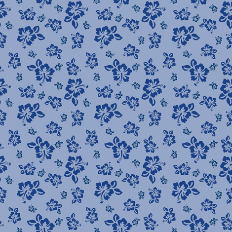 Hibiscus (Blue/Violet) fabric by shannonmac on Spoonflower - custom fabric