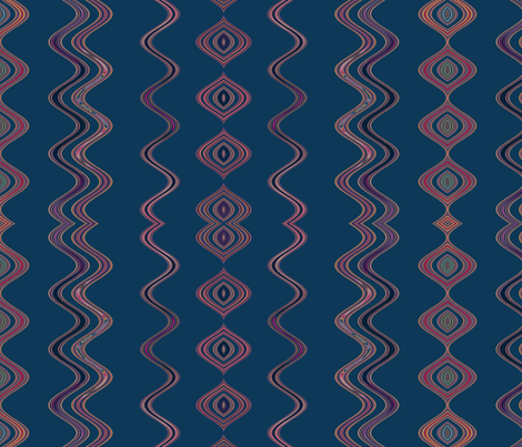 Navy Large Wavy Stripe © Gingezel™ 2013 fabric by gingezel on Spoonflower - custom fabric