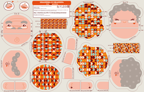 Grandma & Grandpa zip-pouches fabric by verycherry on Spoonflower - custom fabric