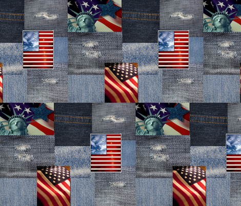 AMERICAN DENIM PATCHES fabric by bluevelvet on Spoonflower - custom fabric