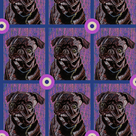 Black Pug Bullseye fabric by david_kent_collections on Spoonflower - custom fabric
