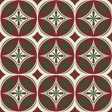 Moroccan Tiles (Burgundy/Hunter) fabric by shannonmac on Spoonflower - custom fabric