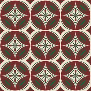 Moroccan Tiles (Burgundy/Hunter)