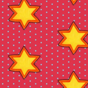 Christmas Star on Blue Dots on Red