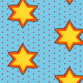 Christmas Star on Red Dots on Blue
