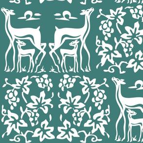 Deer & grapes wooden tjap vector1 - white & green 175