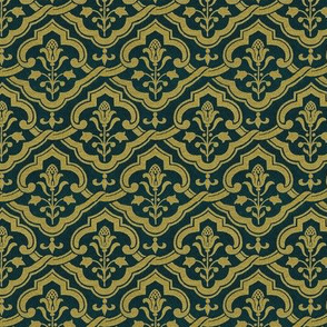 Renaissance wallpaper, gold on velvet
