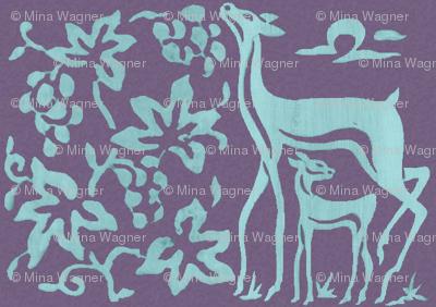 Wooden tjaps grapes & deer - closer -  seafoam on textured lavender