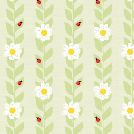 Daisies & Ladybugs fabric by taramcgowan on Spoonflower - custom fabric