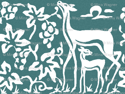 Arts & Crafts deer and grapes - white on bluegreen