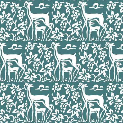 Arts & Crafts deer and grapes - white on bluegreen  fabric by mina on Spoonflower - custom fabric