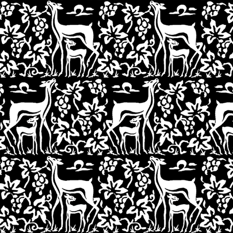 Arts & crafts deer and grapes - black & white - double fabric by mina on Spoonflower - custom fabric