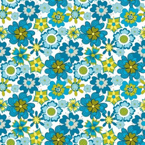 Twiggy flowers teal