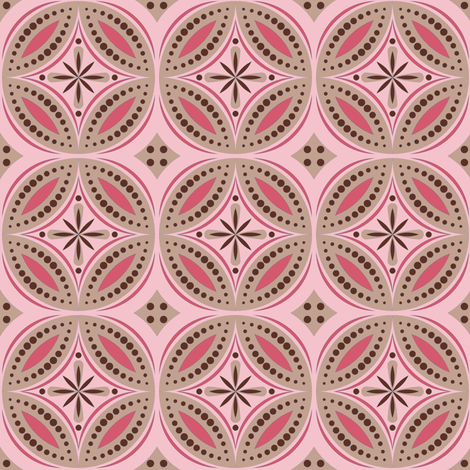 Moroccan Tiles (Pink/Brown) fabric by shannonmac on Spoonflower - custom fabric