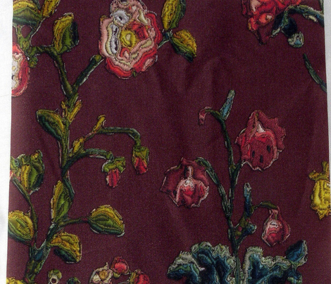 Floral Rococo skirt- or apron embroidery - Red