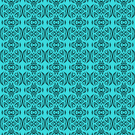 Tribal Stripes (turquoise) fabric by ladyleigh on Spoonflower - custom fabric