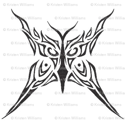 Tribal butterfly (black and white)