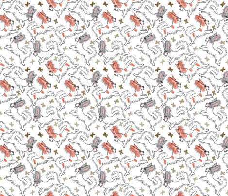 Toon Papillons chasing butterflies fabric by rusticcorgi on Spoonflower - custom fabric