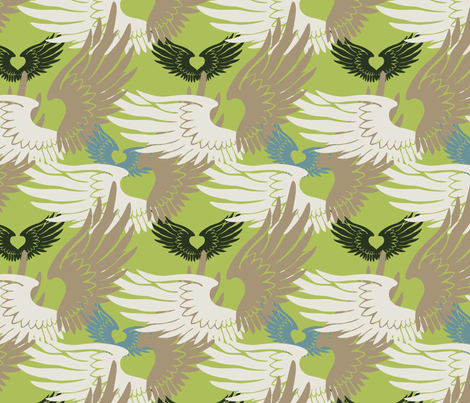 Heartwings II: Green, Beige, Blue fabric by penina on Spoonflower - custom fabric