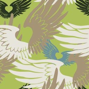 Heartwings II: Green, Beige, Blue