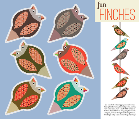 Fun Finches fabric by shellimakesstudio on Spoonflower - custom fabric