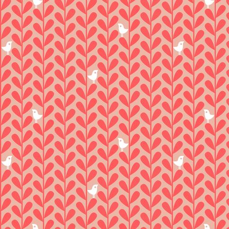 Crafty Coffee Cosies - Bird Leaf, Salmon fabric by ttoz on Spoonflower - custom fabric