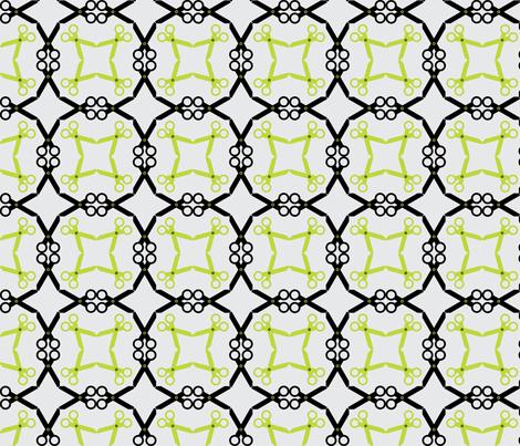 Rotating Black/Lime Scissors fabric by audreyclayton on Spoonflower - custom fabric