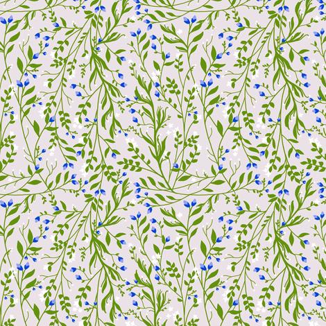 Tangled, Emerald Vine Blue Blossom fabric by thistleandfox on Spoonflower - custom fabric