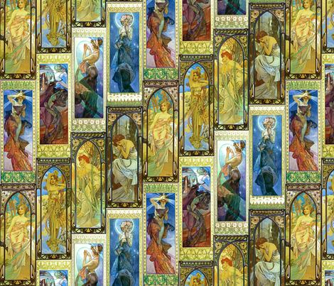 Mucha's Night and Day fabric by bonnie_phantasm on Spoonflower - custom fabric