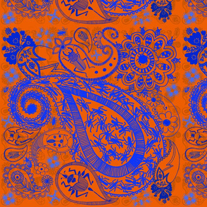 Bug Paisley in blue and Orange