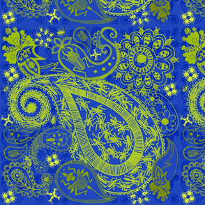 Bug Paisley in blue and lime green