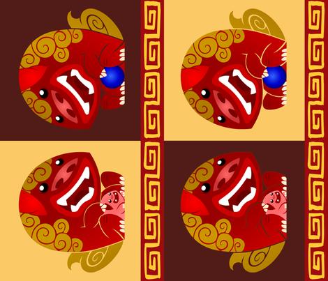 Mr and Mrs Foo Dog fabric by shiro on Spoonflower - custom fabric