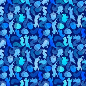 Squirrels and Acorns in blues - horizontal