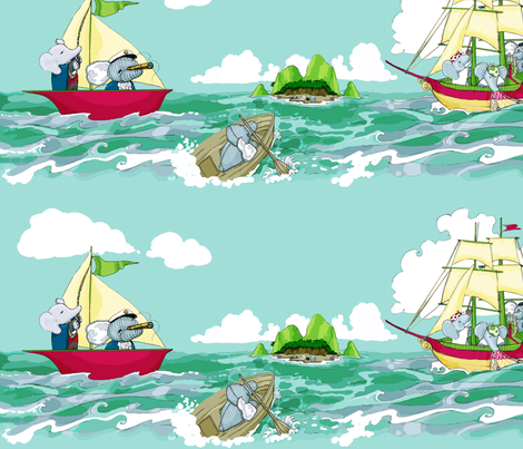 Pirate Hellephant and His Elephant Crew fabric by jewelrenee on Spoonflower - custom fabric