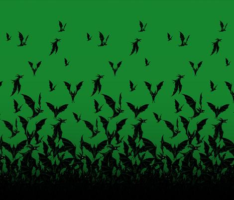 Night Hunter vertical - emerald fabric by thecalvarium on Spoonflower - custom fabric