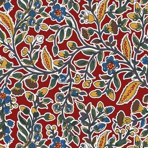 Regency Floral. c. 1802, Red
