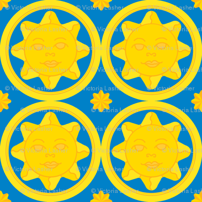 Sunny day medallion - yellow on dark blue