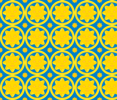 Sunny day medallion - yellow on dark blue fabric by victorialasher on Spoonflower - custom fabric