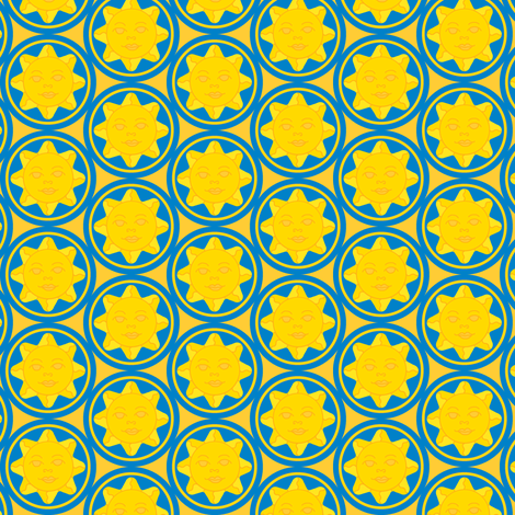 Sunny day repeat - dark blue on yellow fabric by victorialasher on Spoonflower - custom fabric