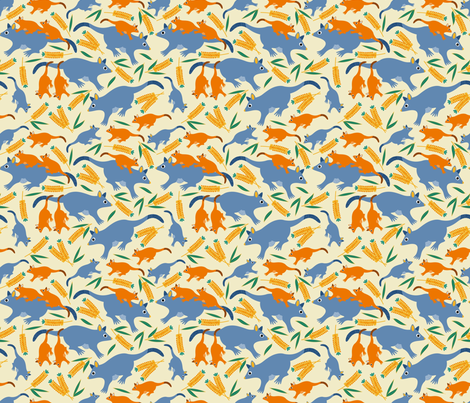 Possums&Bottlebrush fabric by yellowstudio on Spoonflower - custom fabric