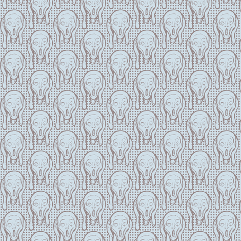 Beige  Screams on light blue small scale fabric by susiprint on Spoonflower - custom fabric