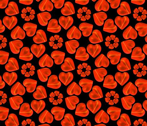 Circle of Hearts Pattern Black fabric by galleryhakon on Spoonflower - custom fabric