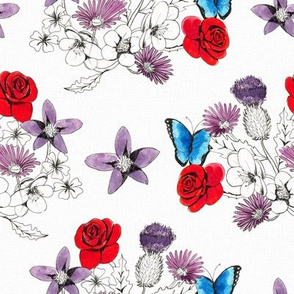 butterflies in the flowers