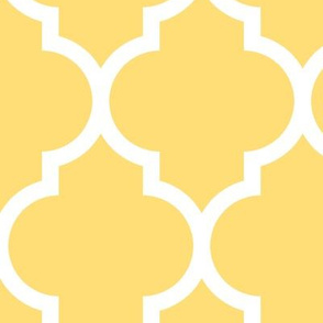 moroccan quatrefoil lattice in lemon yellow