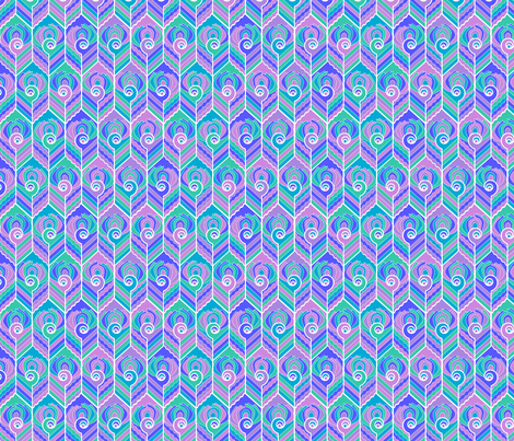 Art Deco Peacock - Mosaic fabric by jasmo on Spoonflower - custom fabric